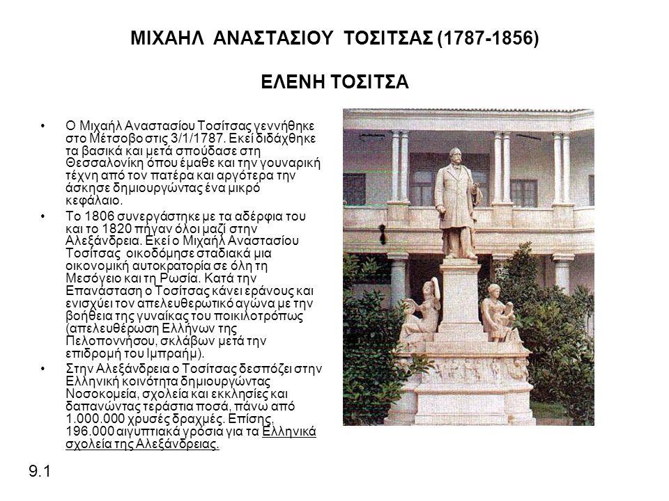ΜΙΧΑΗΛ ΑΝΑΣΤΑΣΙΟΥ ΤΟΣΙΤΣΑΣ (1787-1856) ΕΛΕΝΗ ΤΟΣΙΤΣΑ Ο Μιχαήλ Αναστασίου Τοσίτσας γεννήθηκε στο Μέτσοβο στις 3/1/1787.