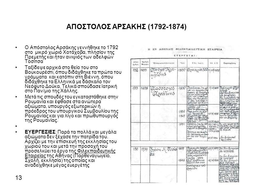 ΑΠΟΣΤΟΛΟΣ ΑΡΣΑΚΗΣ (1792-1874) Ο Απόστολος Αρσάκης γεννήθηκε το 1792 στο μικρό χωριό Χοτάχοβα, πλησίον της Πρεμετής και ήταν ανιψιός των αδελφών Τοσίτσα Ταξίδεψε αρχικά στο θείο του στο Βουκουρέστι, όπου διδάχθηκε τα πρώτα του γράμματα και κατόπιν στη Βιέννη, όπου διδάχθηκε τα Ελληνικά με δάσκαλο τον Νεόφυτο Δούκα.