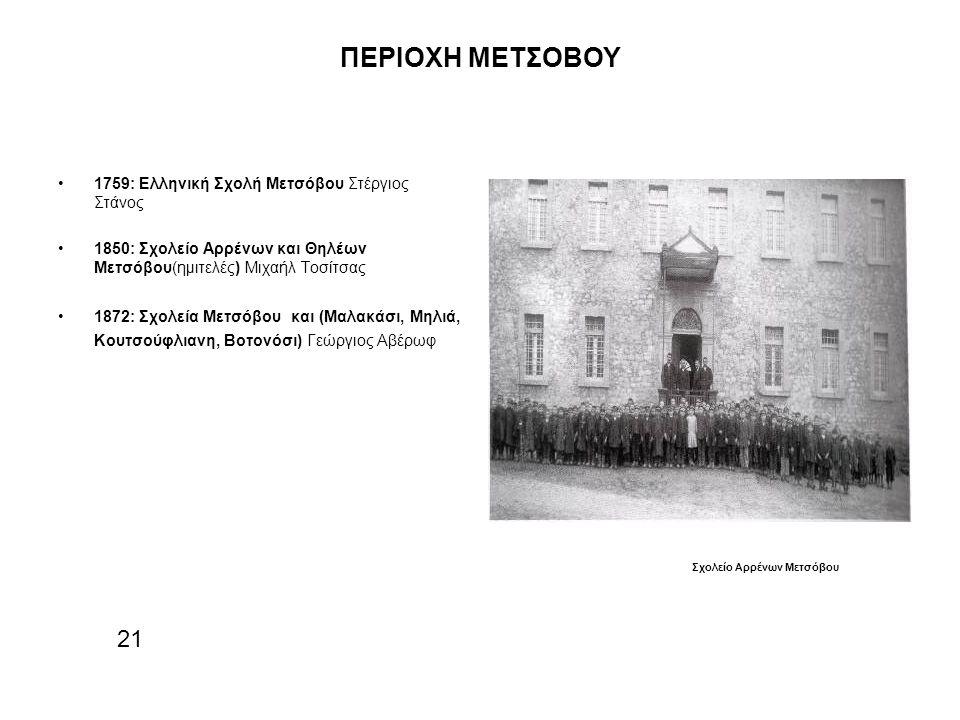 ΠΕΡΙΟΧΗ ΜΕΤΣΟΒΟΥ 1759: Ελληνική Σχολή Μετσόβου Στέργιος Στάνος 1850: Σχολείο Αρρένων και Θηλέων Μετσόβου(ημιτελές) Μιχαήλ Τοσίτσας 1872: Σχολεία Μετσόβου και (Μαλακάσι, Μηλιά, Κουτσούφλιανη, Βοτονόσι) Γεώργιος Αβέρωφ 21 Σχολείο Αρρένων Μετσόβου