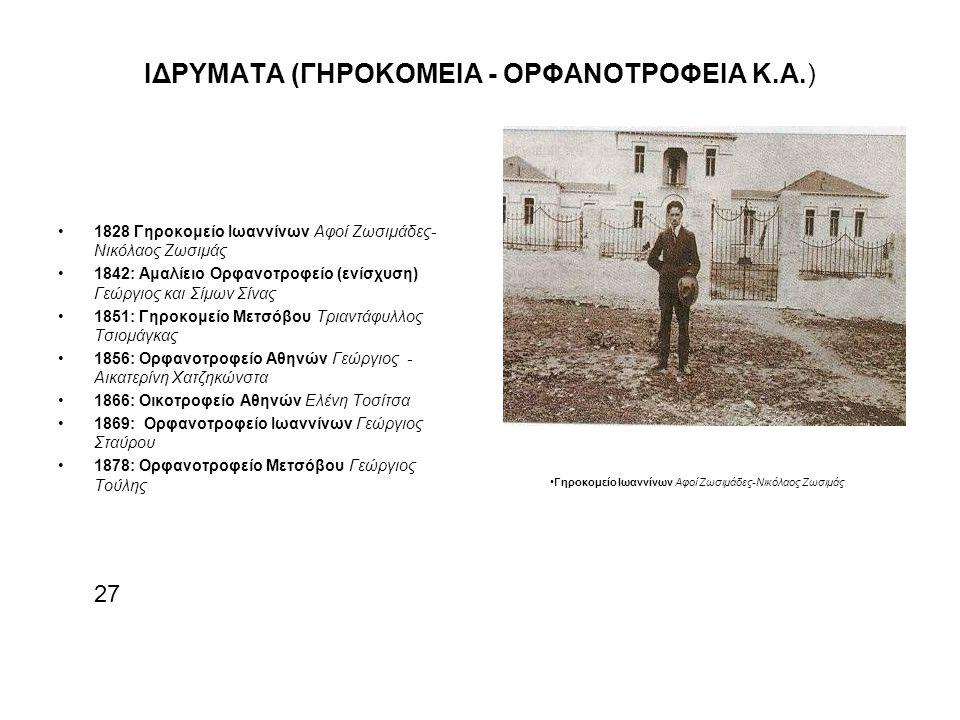 ΙΔΡΥΜΑΤΑ (ΓΗΡΟΚΟΜΕΙΑ - ΟΡΦΑΝΟΤΡΟΦΕΙΑ Κ.Α.) 1828 Γηροκομείο Ιωαννίνων Αφοί Ζωσιμάδες- Νικόλαος Ζωσιμάς 1842: Αμαλίειο Ορφανοτροφείο (ενίσχυση) Γεώργιος και Σίμων Σίνας 1851: Γηροκομείο Μετσόβου Τριαντάφυλλος Τσιομάγκας 1856: Ορφανοτροφείο Αθηνών Γεώργιος - Αικατερίνη Χατζηκώνστα 1866: Οικοτροφείο Αθηνών Ελένη Τοσίτσα 1869: Ορφανοτροφείο Ιωαννίνων Γεώργιος Σταύρου 1878: Ορφανοτροφείο Μετσόβου Γεώργιος Τούλης 27 Γηροκομείο Ιωαννίνων Αφοί Ζωσιμάδες-Νικόλαος Ζωσιμάς