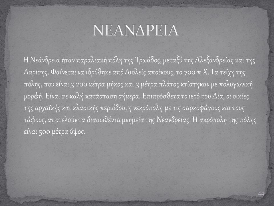 Η Νεάνδρεια ήταν παραλιακή πόλη της Τρωάδος, μεταξύ της Αλεξανδρείας και της Λαρίσης. Φαίνεται να ιδρύθηκε από Αιολείς αποίκους, το 700 π.Χ. Τα τείχη