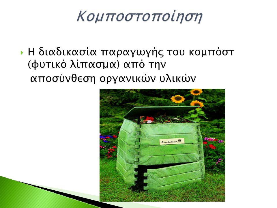  Η διαδικασία παραγωγής του κομπόστ (φυτικό λίπασμα) από την αποσύνθεση οργανικών υλικών