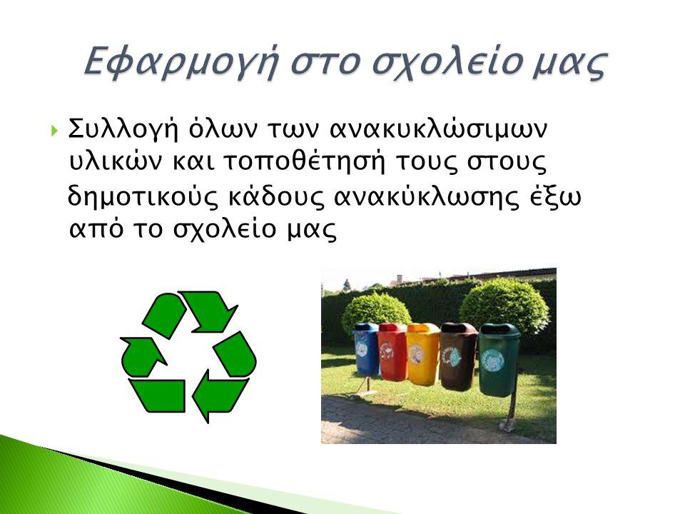  Συλλογή όλων των ανακυκλώσιμων υλικών και τοποθέτησή τους στους δημοτικούς κάδους ανακύκλωσης έξω από το σχολείο μας