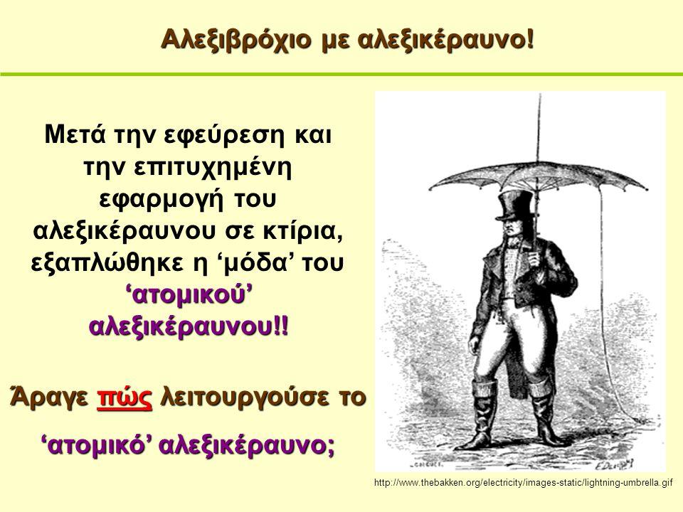 http://www.thebakken.org/electricity/images-static/lightning-umbrella.gif Αλεξιβρόχιο με αλεξικέραυνο! Άραγε πώς λειτουργούσε το 'ατομικό' αλεξικέραυν