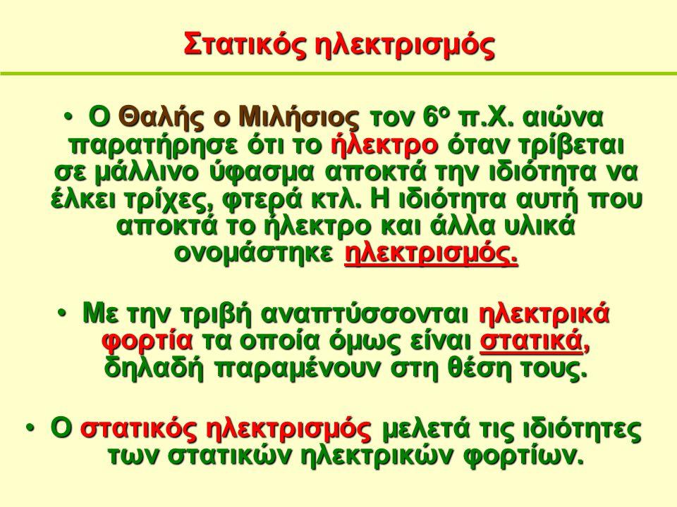 Στατικός ηλεκτρισμός Ο Θαλής ο Μιλήσιοςτον 6 ο π.Χ. αιώνα παρατήρησε ότι το ήλεκτρο όταν τρίβεται σε μάλλινο ύφασμα αποκτά την ιδιότητανα έλκει τρίχες