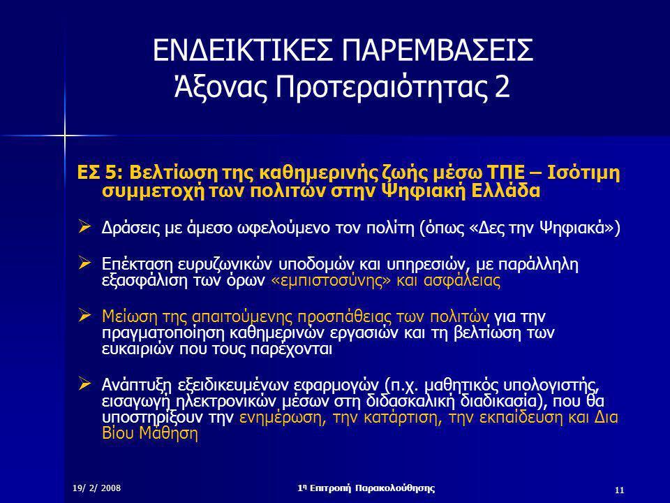 11 19/ 2/ 20081 η Επιτροπή Παρακολούθησης ΕΝΔΕΙΚΤΙΚΕΣ ΠΑΡΕΜΒΑΣΕΙΣ Άξονας Προτεραιότητας 2 5: ΕΣ 5: Βελτίωση της καθημερινής ζωής μέσω ΤΠΕ – Ισότιμη συμμετοχή των πολιτών στην Ψηφιακή Ελλάδα  Δράσεις με άμεσο ωφελούμενο τον πολίτη (όπως «Δες την Ψηφιακά»)  Επέκταση ευρυζωνικών υποδομών και υπηρεσιών, με παράλληλη εξασφάλιση των όρων «εμπιστοσύνης» και ασφάλειας  Μείωση της απαιτούμενης προσπάθειας των πολιτών για την πραγματοποίηση καθημερινών εργασιών και τη βελτίωση των ευκαιριών που τους παρέχονται  Ανάπτυξη εξειδικευμένων εφαρμογών (π.χ.