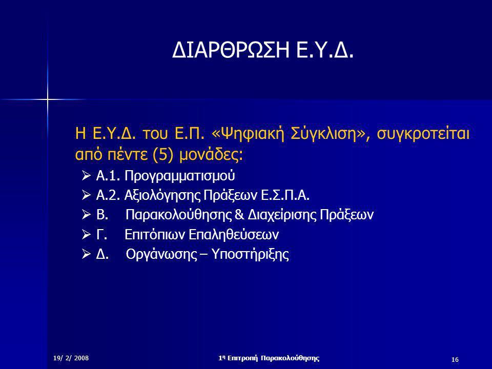 16 19/ 2/ 20081 η Επιτροπή Παρακολούθησης ΔΙΑΡΘΡΩΣΗ Ε.Υ.Δ.