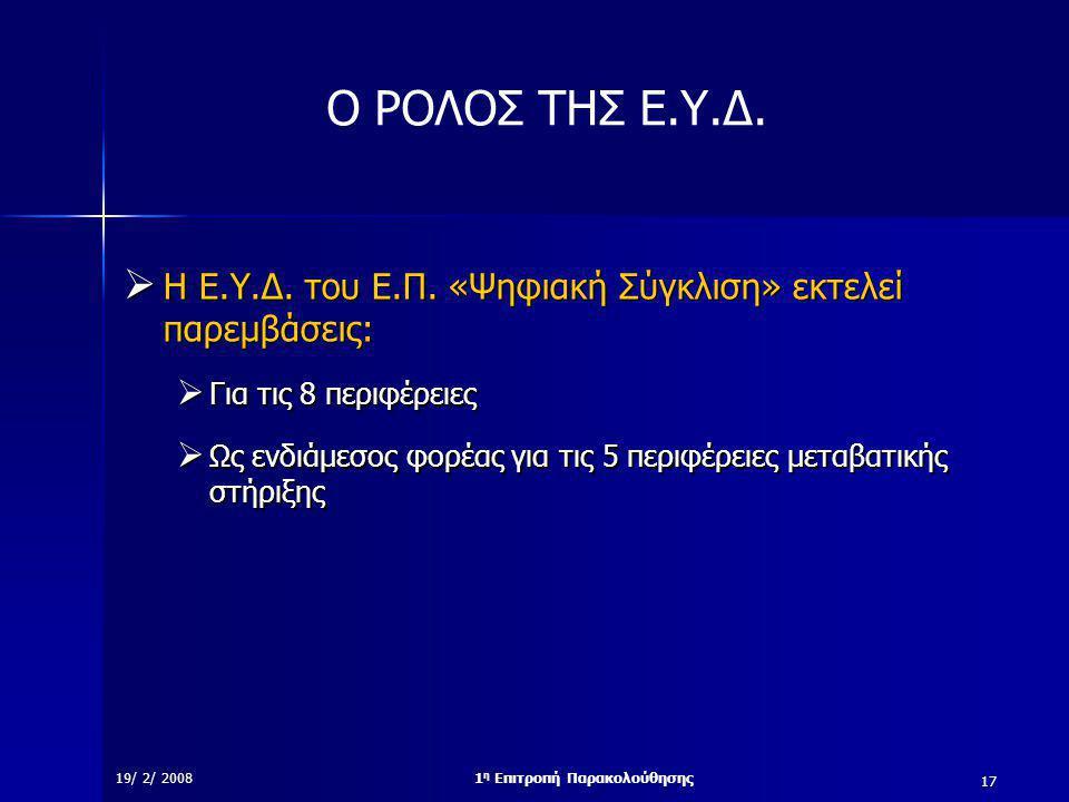 17 19/ 2/ 20081 η Επιτροπή Παρακολούθησης Ο ΡΟΛΟΣ ΤΗΣ Ε.Υ.Δ.