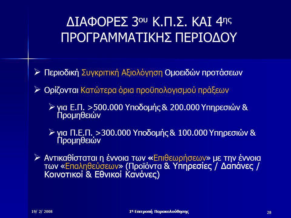 28 19/ 2/ 20081 η Επιτροπή Παρακολούθησης ΔΙΑΦΟΡΕΣ 3 ου Κ.Π.Σ.