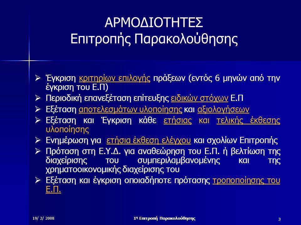 3 19/ 2/ 20081 η Επιτροπή Παρακολούθησης ΑΡΜΟΔΙΟΤΗΤΕΣ Επιτροπής Παρακολούθησης  Έγκριση κριτηρίων επιλογής πράξεων (εντός 6 μηνών από την έγκριση του Ε.Π)  Περιοδική επανεξέταση επίτευξης ειδικών στόχων Ε.Π  Εξέταση αποτελεσμάτων υλοποίησης και αξιολογήσεων  Εξέταση και Έγκριση κάθε ετήσιας και τελικής έκθεσης υλοποίησης  Ενημέρωση για ετήσια έκθεση ελέγχου και σχολίων Επιτροπής  Πρόταση στη Ε.Υ.Δ.