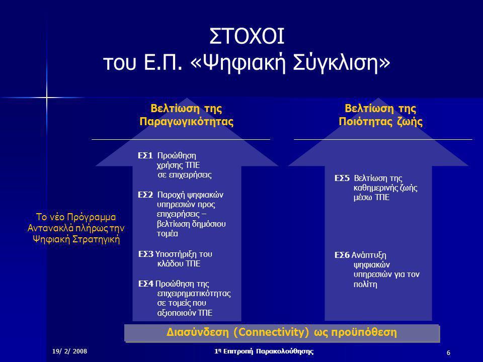 6 19/ 2/ 20081 η Επιτροπή Παρακολούθησης ΣTOXOI του Ε.Π.