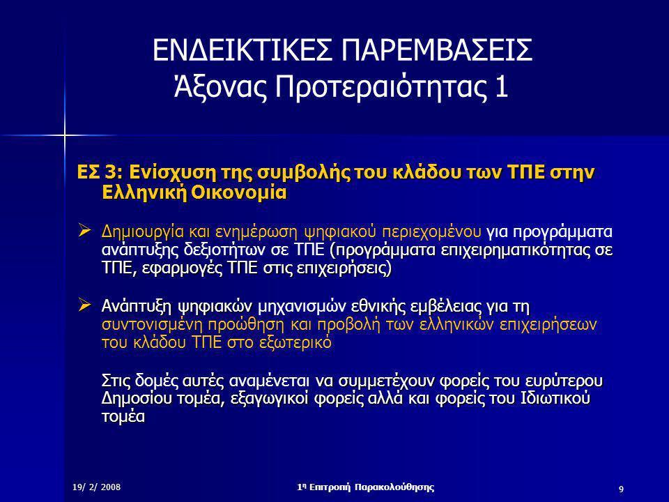 9 19/ 2/ 20081 η Επιτροπή Παρακολούθησης ΕΝΔΕΙΚΤΙΚΕΣ ΠΑΡΕΜΒΑΣΕΙΣ Άξονας Προτεραιότητας 1 3: Ενίσχυση της συμβολής του κλάδου των ΤΠΕ στην Ελληνική Οικονομία ΕΣ 3: Ενίσχυση της συμβολής του κλάδου των ΤΠΕ στην Ελληνική Οικονομία  Δημιουργία και (προγράμματα επιχειρηματικότητας σε ΤΠΕ, εφαρμογές ΤΠΕ στις επιχειρήσεις)  Δημιουργία και ενημέρωση ψηφιακού περιεχομένου για προγράμματα ανάπτυξης δεξιοτήτων σε ΤΠΕ (προγράμματα επιχειρηματικότητας σε ΤΠΕ, εφαρμογές ΤΠΕ στις επιχειρήσεις)  Ανάπτυξη ψηφιακών εθνικής εμβέλειας για τη  Ανάπτυξη ψηφιακών μηχανισμών εθνικής εμβέλειας για τη συντονισμένη προώθηση και προβολή των ελληνικών επιχειρήσεων του κλάδου ΤΠΕ στο εξωτερικό Στις αυτές να συμμετέχουν φορείς του ευρύτερου Δημοσίου τομέα, εξαγωγικοί φορείς αλλά και φορείς του Ιδιωτικού τομέα Στις δομές αυτές αναμένεται να συμμετέχουν φορείς του ευρύτερου Δημοσίου τομέα, εξαγωγικοί φορείς αλλά και φορείς του Ιδιωτικού τομέα