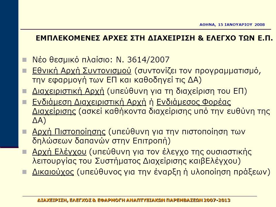 ΑΘΗΝΑ, 15 ΙΑΝΟΥΑΡΙΟΥ 2008 ΔΙΑΧΕΙΡΙΣΗ, ΕΛΕΓΧΟΣ & ΕΦΑΡΜΟΓΗ ΑΝΑΠΤΥΞΙΑΚΩΝ ΠΑΡΕΜΒΑΣΕΩΝ 2007-2013 ΑρχήΠιστοποίησης ΔιαχειριστικήΑρχή Δικαιούχος ΑρχήΕλέγχου ΕθνικήΑρχήΣυντονισμού Επίβλεψη Συντονισμός Επαλήθευση Έλεγχος Έργο Ενδιάμεσος Φορέας Διαχείρισης Επιθεώρηση Ευρωπαϊκή Επιτροπή Συνεργασία