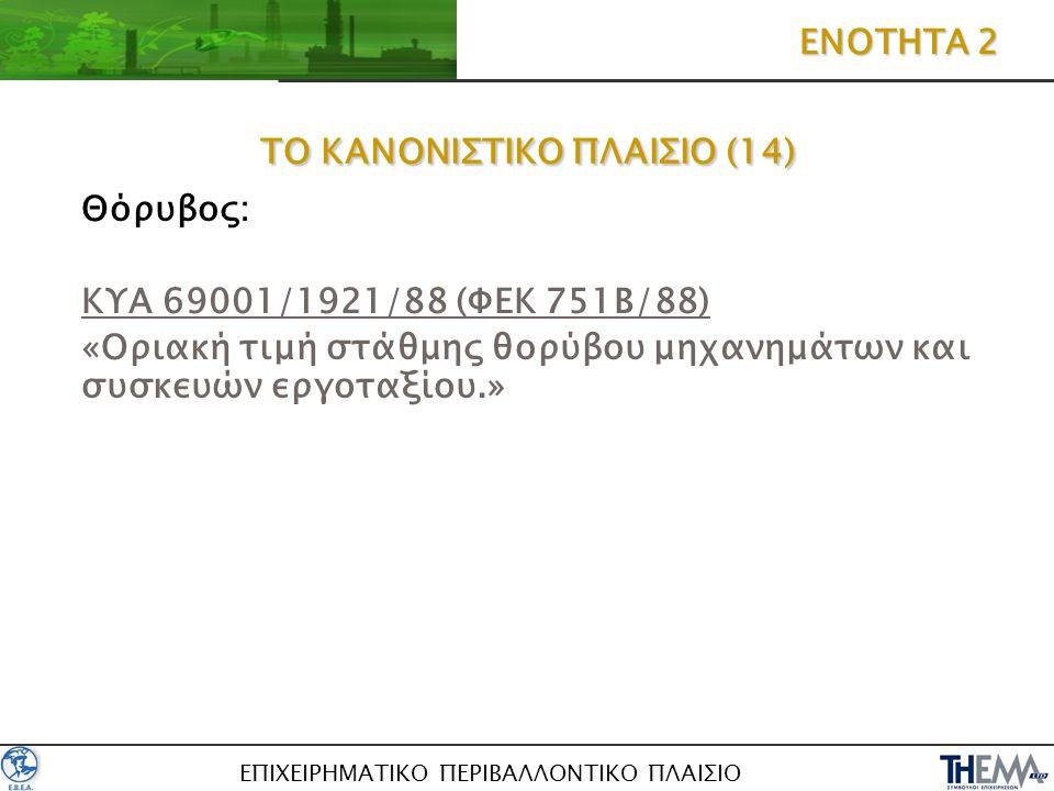 ΕΠΙΧΕΙΡΗΜΑΤΙΚΟ ΠΕΡΙΒΑΛΛΟΝΤΙΚΟ ΠΛΑΙΣΙΟ ΤΟ ΚΑΝΟΝΙΣΤΙΚΟ ΠΛΑΙΣΙΟ (14) Θόρυβος: ΚΥΑ 69001/1921/88 (ΦΕΚ 751Β/88) «Οριακή τιμή στάθμης θορύβου μηχανημάτων κα