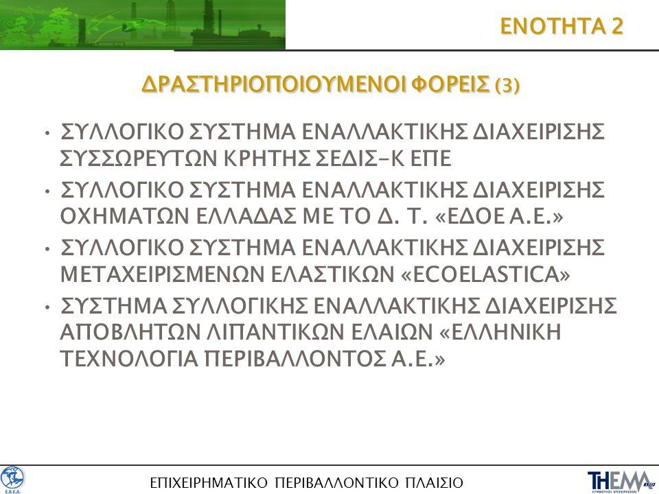 ΕΠΙΧΕΙΡΗΜΑΤΙΚΟ ΠΕΡΙΒΑΛΛΟΝΤΙΚΟ ΠΛΑΙΣΙΟ ΔΡΑΣΤΗΡΙΟΠΟΙΟΥΜΕΝΟΙ ΦΟΡΕΙΣ (3) ΣΥΛΛΟΓΙΚΟ ΣΥΣΤΗΜΑ ΕΝΑΛΛΑΚΤΙΚΗΣ ΔΙΑΧΕΙΡΙΣΗΣ ΣΥΣΣΩΡΕΥΤΩΝ ΚΡΗΤΗΣ ΣΕΔΙΣ-Κ ΕΠΕ ΣΥΛΛΟΓΙ