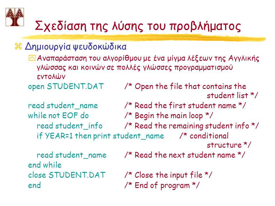 Σχεδίαση της λύσης του προβλήματος zΔημιουργία ψευδοκώδικα yΑναπαράσταση του αλγορίθμου με ένα μίγμα λέξεων της Αγγλικής γλώσσας και κοινών σε πολλές γλώσσες προγραμματισμού εντολών open STUDENT.DAT /* Open the file that contains the student list */ read student_name/* Read the first student name */ while not EOF do/* Begin the main loop */ read student_info/* Read the remaining student info */ if YEAR=1 then print student_name/* conditional structure */ read student_name/* Read the next student name */ end while close STUDENT.DAT/* Close the input file */ end/* End of program */