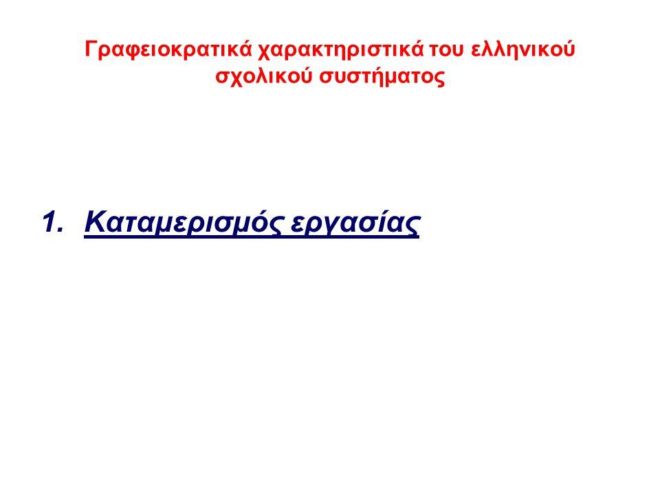 Γραφειοκρατικά χαρακτηριστικά του ελληνικού σχολικού συστήματος 1.Καταμερισμός εργασίας