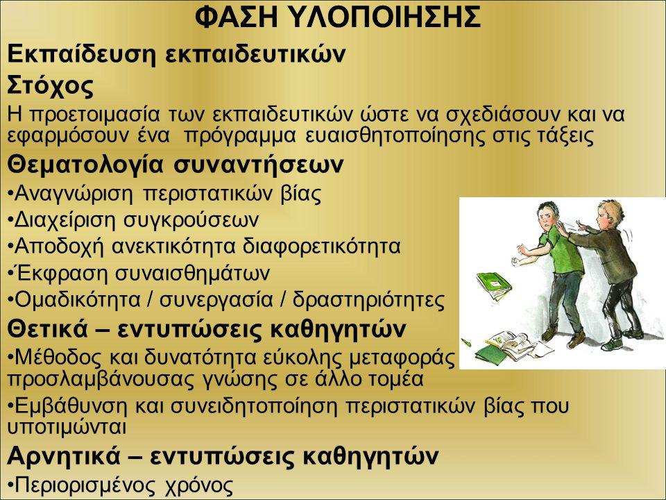 ΦΑΣΗ ΥΛΟΠΟΙΗΣΗΣ: Πρόγραμμα ευαισθητοποίησης των μαθητών της α΄ τάξης Στόχοι: αναγνώριση μορφών σχολικού εκφοβισμού (συναισθήματα αίτια αποτελέσματα αντιμετώπιση) Θεματολογία συναντήσεων 1 η συνάντηση: γνωριμία σύνταξη συμβολαίου -καταιγισμός ιδεών σε σχέση με τη λέξη επιθετικότητα – εντυπώσεις από την συνάντηση 2 η συνάντηση: σκέψεις προσδοκίες για τη συνάντηση - αναφορά περιστατικών βίας που γνωρίζουν και συνδέονται με το σχολείο - δραματοποίηση ενός περιστατικού - εντυπώσεις, απολογισμός της συνάντησης 3 η – 4 η συνάντηση: προσδοκίες σκέψεις για τη συνάντηση, δραματοποίηση του ίδιου περιστατικού, συζήτηση για τα συναισθήματα, τις πιθανές αιτίες, το τι άλλο θα μπορούσαν να κάνουν οι εμπλεκόμενοι (θύτης – θύμα – κοινό) Εντυπώσεις από την συνάντηση – κλείσιμο προγράμματος