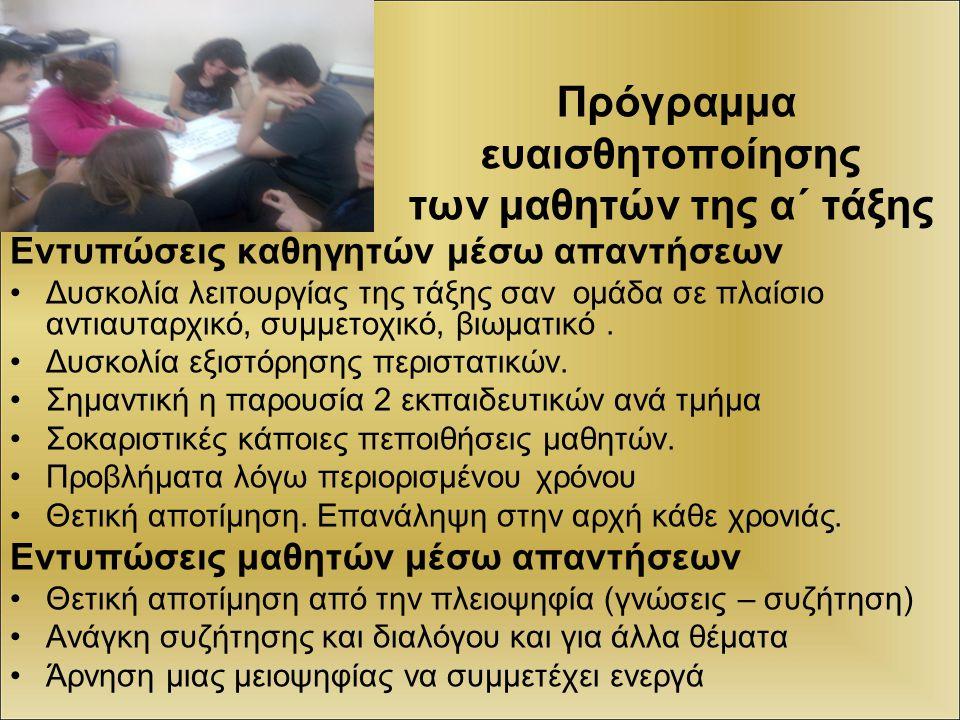 Πρόγραμμα ευαισθητοποίησης των μαθητών της α΄ τάξης Εντυπώσεις καθηγητών μέσω απαντήσεων Δυσκολία λειτουργίας της τάξης σαν ομάδα σε πλαίσιο αντιαυταρ