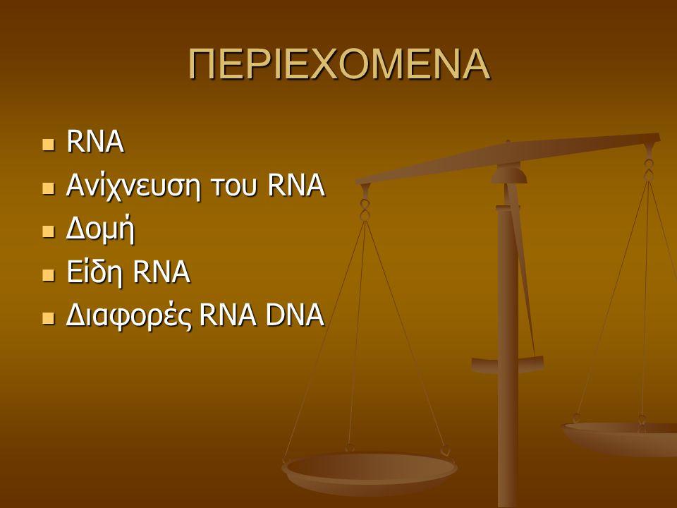 ΠΕΡΙΕΧΟΜΕΝΑ RNA RNA Ανίχνευση του RNA Ανίχνευση του RNA Δομή Δομή Eίδη RNA Eίδη RNA Διαφορές RNA DNA Διαφορές RNA DNA