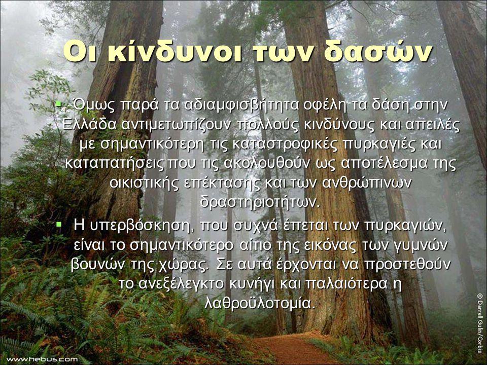 Οι κίνδυνοι των δασών  Όμως παρά τα αδιαμφισβήτητα οφέλη τα δάση στην Ελλάδα αντιμετωπίζουν πολλούς κινδύνους και απειλές με σημαντικότερη τις καταστ