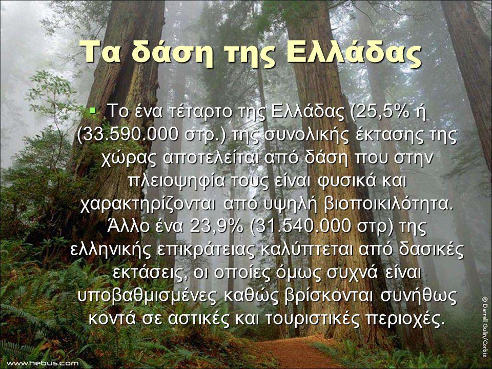 Τα δάση της Ελλάδας  Το ένα τέταρτο της Ελλάδας (25,5% ή (33.590.000 στρ.) της συνολικής έκτασης της χώρας αποτελείται από δάση που στην πλειοψηφία τ