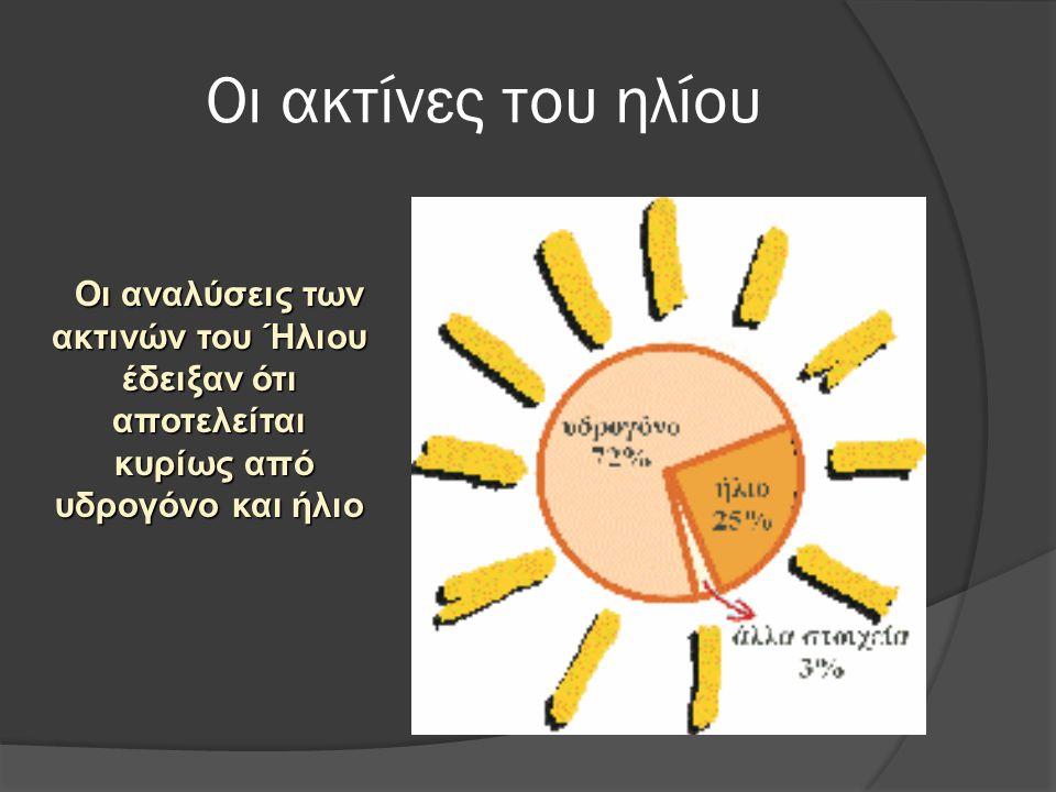 Οι ακτίνες του ηλίου Οι αναλύσεις των ακτινών του Ήλιου έδειξαν ότι αποτελείται Οι αναλύσεις των ακτινών του Ήλιου έδειξαν ότι αποτελείται κυρίως από υδρογόνο και ήλιο κυρίως από υδρογόνο και ήλιο