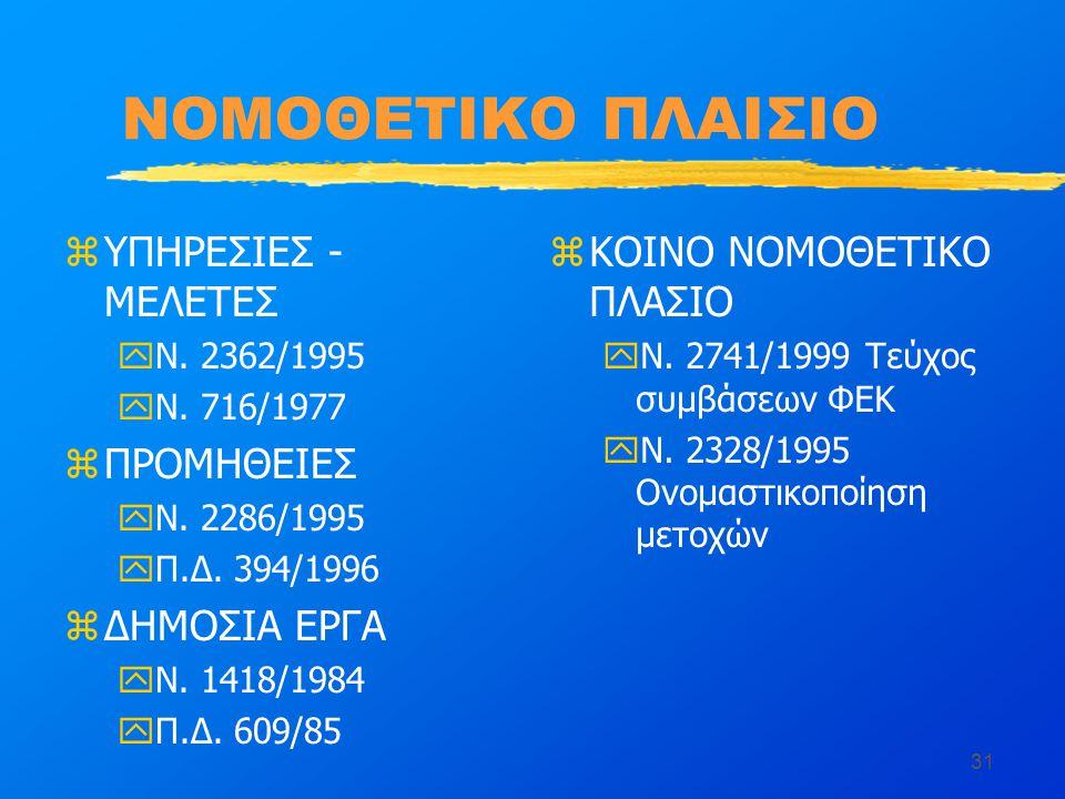 31 ΝΟΜΟΘΕΤΙΚΟ ΠΛΑΙΣΙΟ zΥΠΗΡΕΣΙΕΣ - ΜΕΛΕΤΕΣ yΝ. 2362/1995 yΝ.