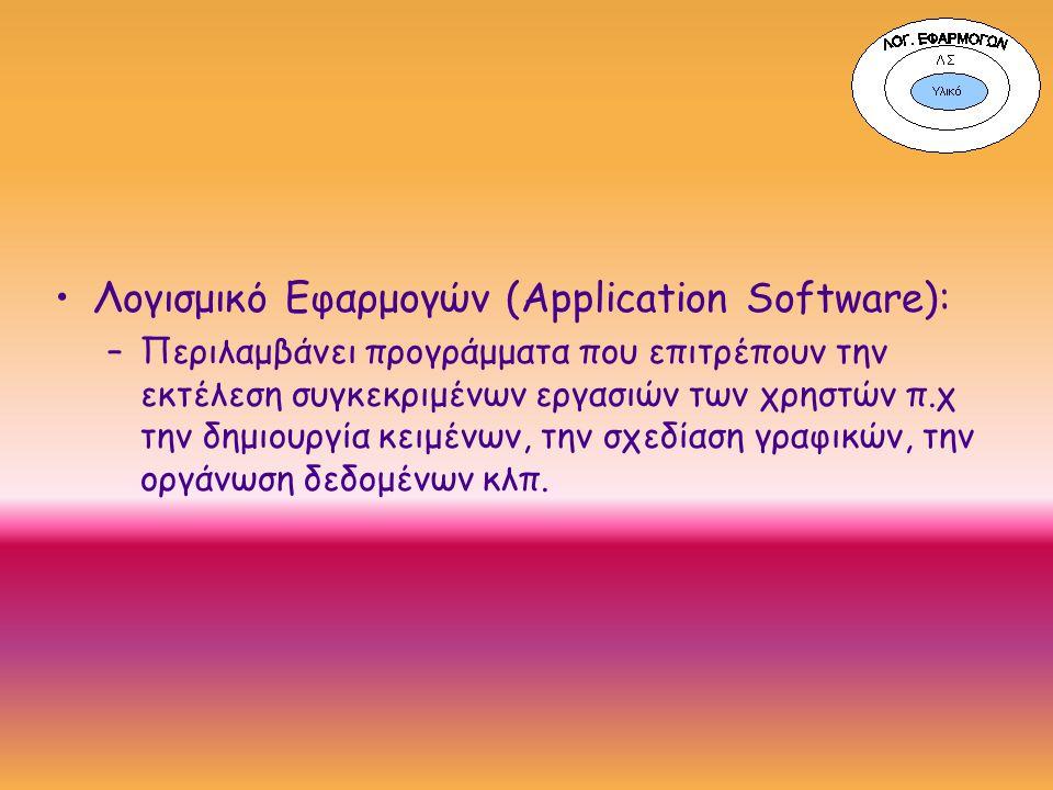 Λογισμικό Εφαρμογών (Application Software): –Περιλαμβάνει προγράμματα που επιτρέπουν την εκτέλεση συγκεκριμένων εργασιών των χρηστών π.χ την δημιουργία κειμένων, την σχεδίαση γραφικών, την οργάνωση δεδομένων κλπ.