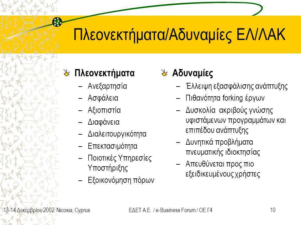 1013-14 Δεκεμβρίου 2002 Nicosia, CyprusΕΔΕΤ Α.Ε. / e-Business Forum / ΟΕ Γ4 Πλεονεκτήματα/Αδυναμίες ΕΛ/ΛΑΚ Πλεονεκτήματα –Ανεξαρτησία –Ασφάλεια –Αξιοπ