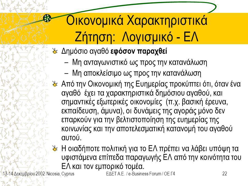 2213-14 Δεκεμβρίου 2002 Nicosia, CyprusΕΔΕΤ Α.Ε. / e-Business Forum / ΟΕ Γ4 Οικονομικά Χαρακτηριστικά Ζήτηση: Λογισμικό - ΕΛ Δημόσιο αγαθό εφόσον παρα