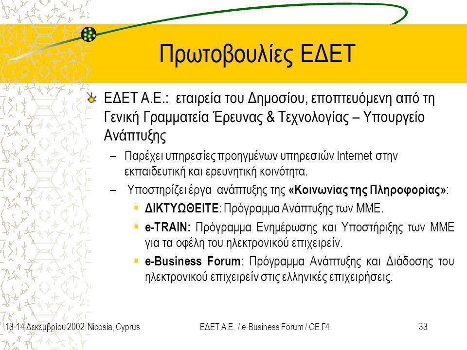 3313-14 Δεκεμβρίου 2002 Nicosia, CyprusΕΔΕΤ Α.Ε. / e-Business Forum / ΟΕ Γ4 Πρωτοβουλίες ΕΔΕΤ ΕΔΕΤ A.E.: εταιρεία του Δημοσίου, εποπτευόμενη από τη Γε