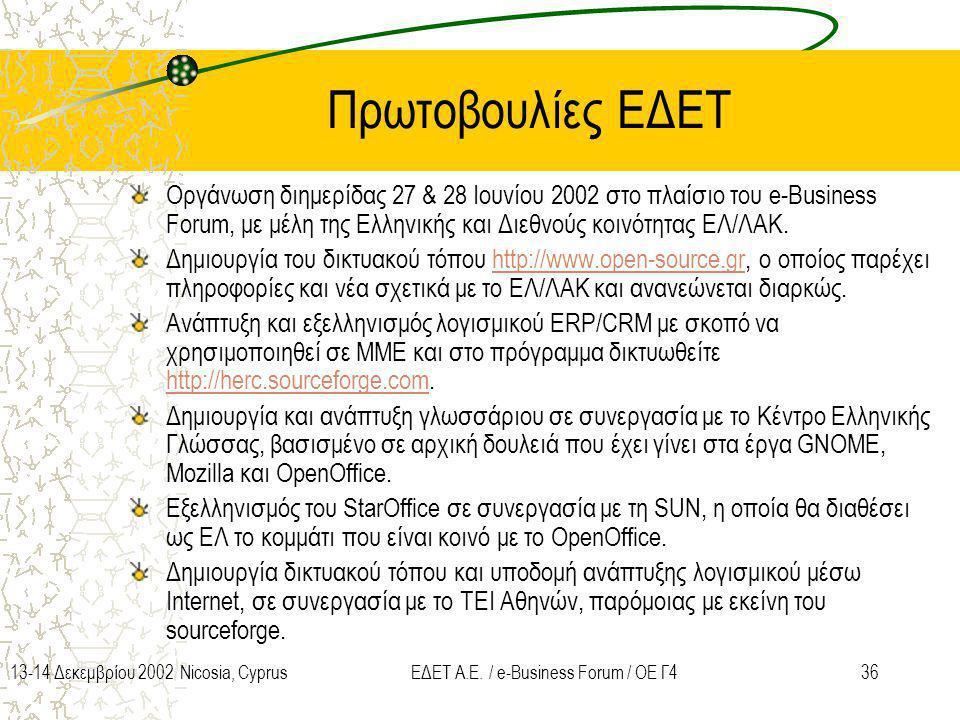 3613-14 Δεκεμβρίου 2002 Nicosia, CyprusΕΔΕΤ Α.Ε. / e-Business Forum / ΟΕ Γ4 Πρωτοβουλίες ΕΔΕΤ Oργάνωση διημερίδας 27 & 28 Ιουνίου 2002 στο πλαίσιο του