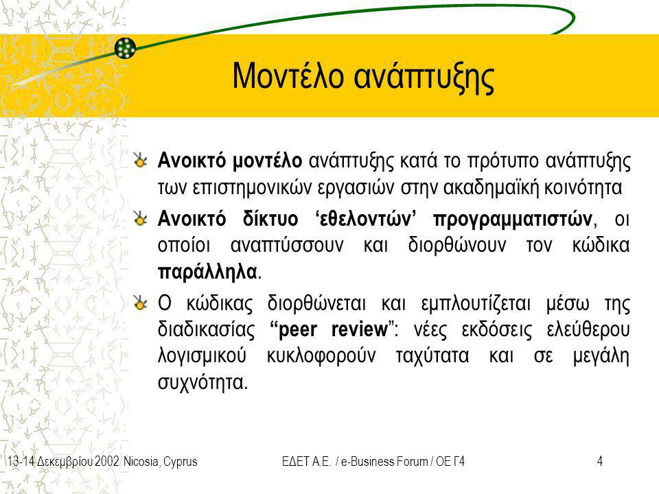 413-14 Δεκεμβρίου 2002 Nicosia, CyprusΕΔΕΤ Α.Ε. / e-Business Forum / ΟΕ Γ4 Μοντέλο ανάπτυξης Ανοικτό μοντέλο ανάπτυξης κατά το πρότυπο ανάπτυξης των ε