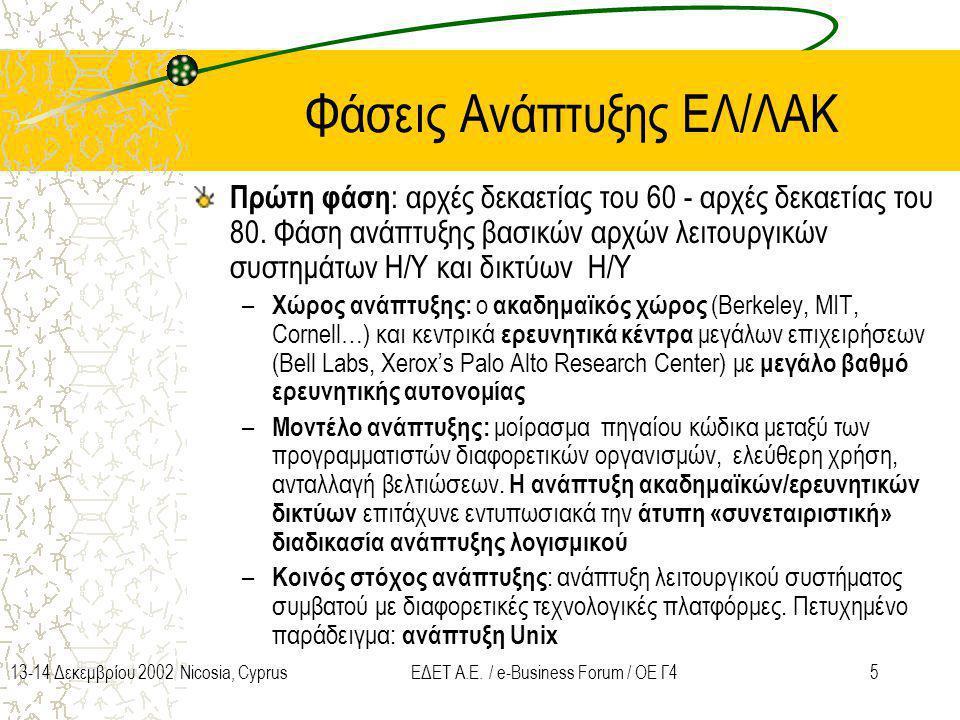 513-14 Δεκεμβρίου 2002 Nicosia, CyprusΕΔΕΤ Α.Ε. / e-Business Forum / ΟΕ Γ4 Φάσεις Ανάπτυξης ΕΛ/ΛΑΚ Πρώτη φάση : αρχές δεκαετίας του 60 - αρχές δεκαετί