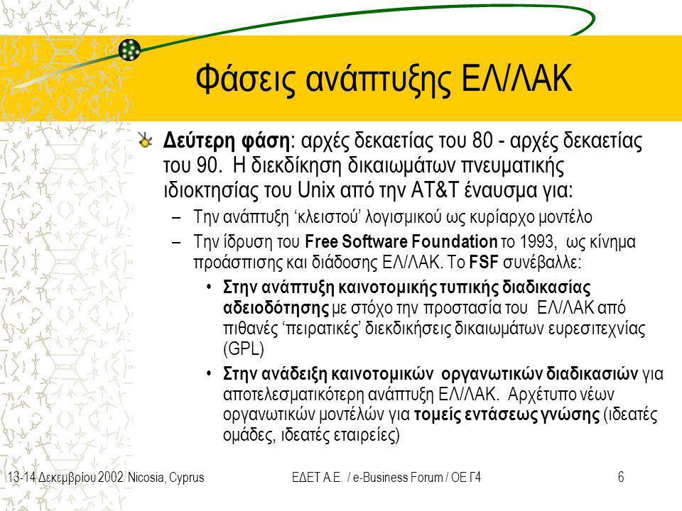 613-14 Δεκεμβρίου 2002 Nicosia, CyprusΕΔΕΤ Α.Ε. / e-Business Forum / ΟΕ Γ4 Φάσεις ανάπτυξης ΕΛ/ΛΑΚ Δεύτερη φάση : αρχές δεκαετίας του 80 - αρχές δεκαε