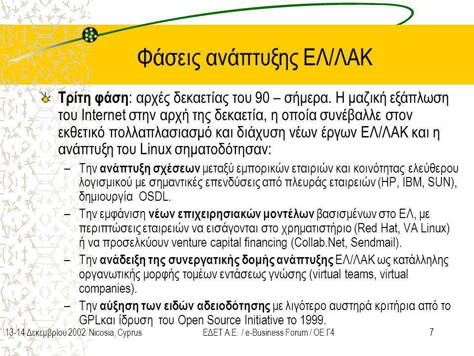 713-14 Δεκεμβρίου 2002 Nicosia, CyprusΕΔΕΤ Α.Ε. / e-Business Forum / ΟΕ Γ4 Φάσεις ανάπτυξης ΕΛ/ΛΑΚ Τρίτη φάση : αρχές δεκαετίας του 90 – σήμερα. Η μαζ