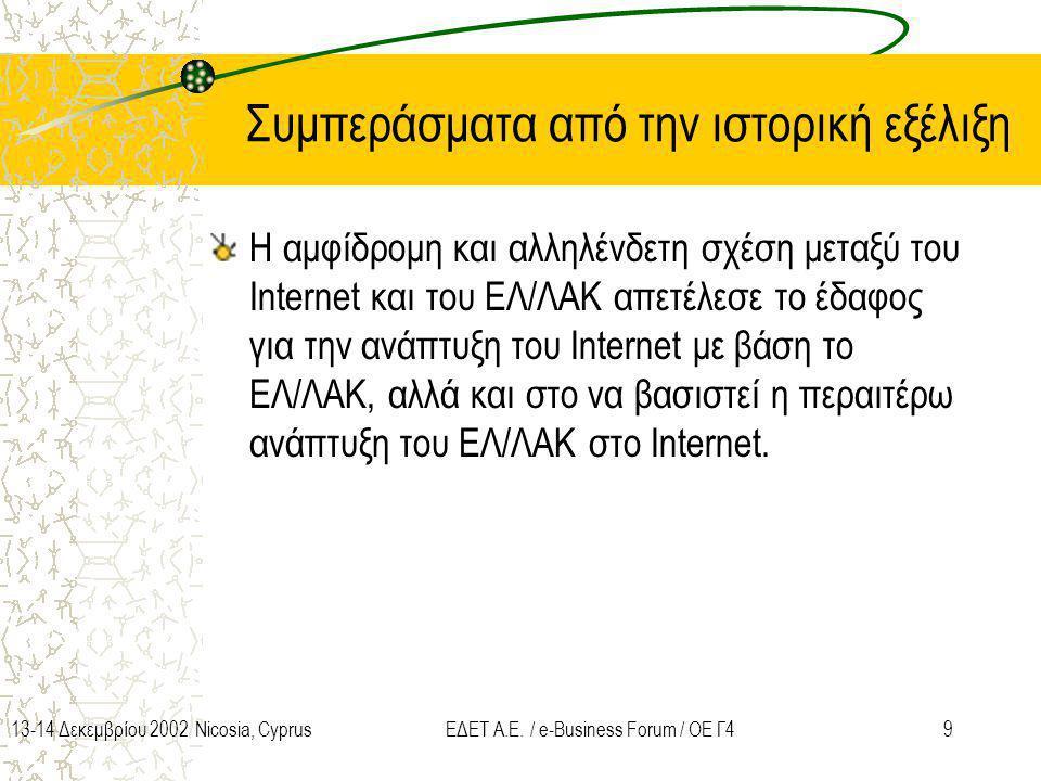 913-14 Δεκεμβρίου 2002 Nicosia, CyprusΕΔΕΤ Α.Ε. / e-Business Forum / ΟΕ Γ4 Συμπεράσματα από την ιστορική εξέλιξη Η αμφίδρομη και αλληλένδετη σχέση μετ