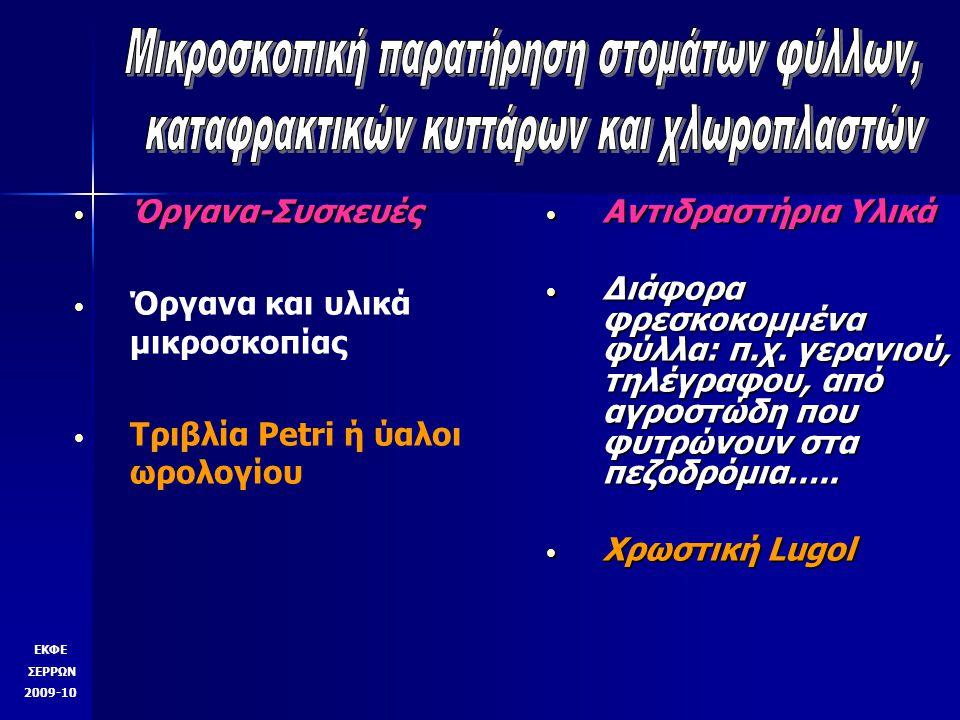 Όργανα-Συσκευές Όργανα-Συσκευές Όργανα και υλικά μικροσκοπίας Τριβλία Petri ή ύαλοι ωρολογίου Αντιδραστήρια Υλικά Αντιδραστήρια Υλικά Διάφορα φρεσκοκο