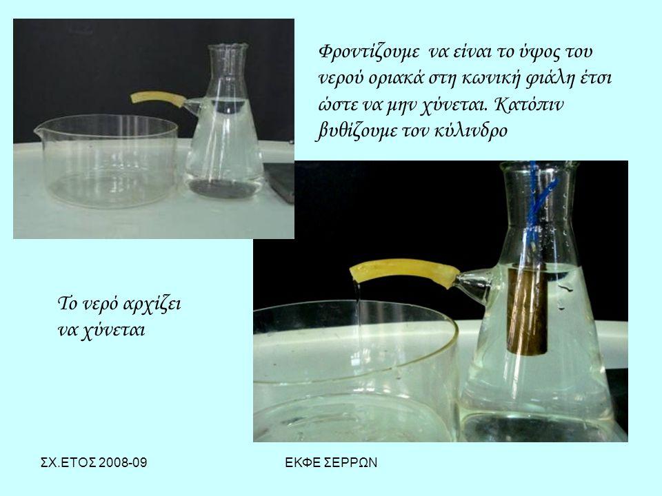ΣΧ.ΕΤΟΣ 2008-09ΕΚΦΕ ΣΕΡΡΩΝ Φροντίζουμε να είναι το ύψος του νερού οριακά στη κωνική φιάλη έτσι ώστε να μην χύνεται. Κατόπιν βυθίζουμε τον κύλινδρο Το