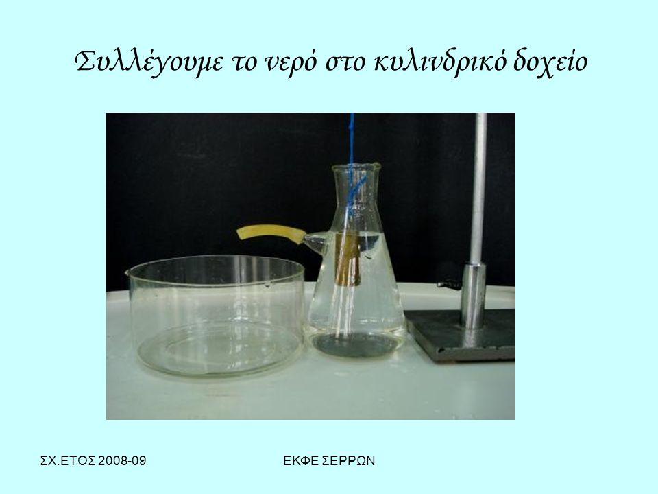 ΣΧ.ΕΤΟΣ 2008-09ΕΚΦΕ ΣΕΡΡΩΝ Συλλέγουμε το νερό στο κυλινδρικό δοχείο