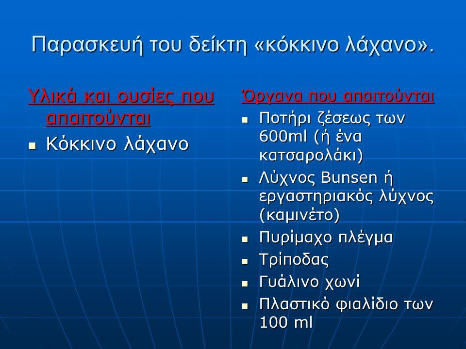 Παρασκευή του δείκτη «κόκκινο λάχανο». Υλικά και ουσίες που απαιτούνται Κόκκινο λάχανο Κόκκινο λάχανο Όργανα που απαιτούνται Ποτήρι ζέσεως των 600ml (