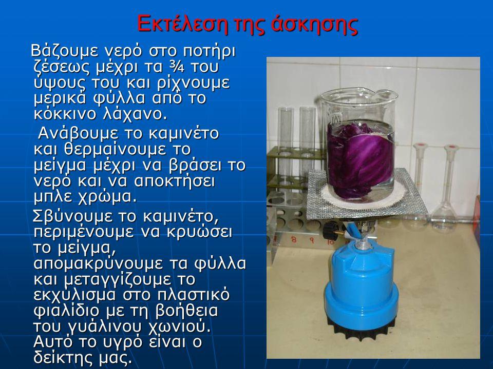 Εκτέλεση της άσκησης Βάζουμε νερό στο ποτήρι ζέσεως μέχρι τα ¾ του ύψους του και ρίχνουμε μερικά φύλλα από το κόκκινο λάχανο. Βάζουμε νερό στο ποτήρι