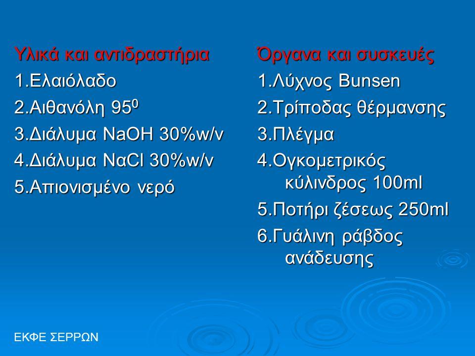 Υλικά και αντιδραστήρια 1.Ελαιόλαδο 2.Αιθανόλη 95 0 3.Διάλυμα NaOH 30%w/v 4.Διάλυμα ΝαCl 30%w/v 5.Aπιονισμένο νερό Όργανα και συσκευές 1.Λύχνος Bunsen