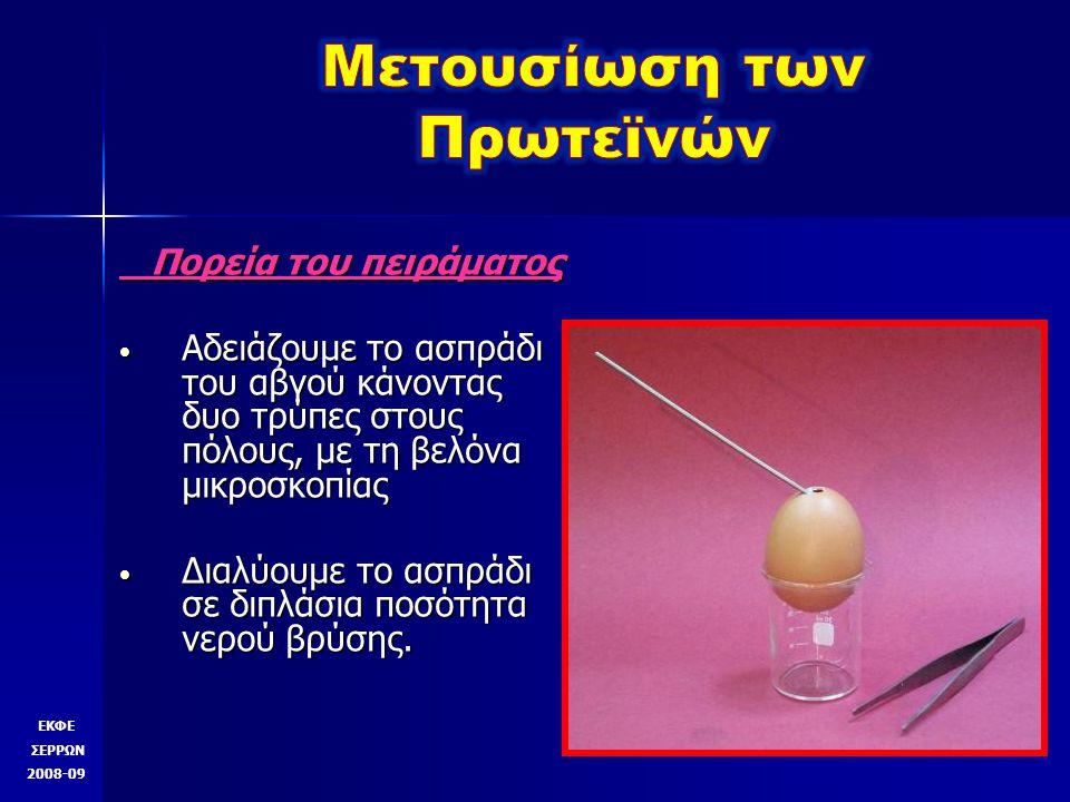 Πορεία του πειράματος Πορεία του πειράματος Αδειάζουμε το ασπράδι του αβγού κάνοντας δυο τρύπες στους πόλους, με τη βελόνα μικροσκοπίας Αδειάζουμε το ασπράδι του αβγού κάνοντας δυο τρύπες στους πόλους, με τη βελόνα μικροσκοπίας Διαλύουμε το ασπράδι σε διπλάσια ποσότητα νερού βρύσης.
