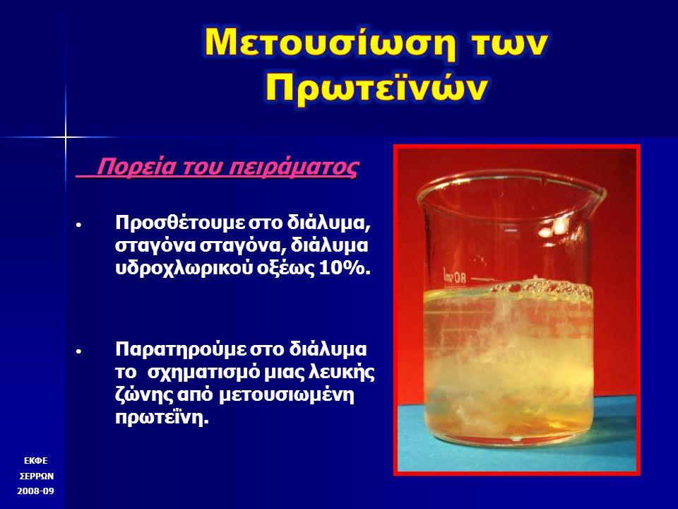 Πορεία του πειράματος Πορεία του πειράματος Προσθέτουμε στο διάλυμα, σταγόνα σταγόνα, διάλυμα υδροχλωρικού οξέως 10%.