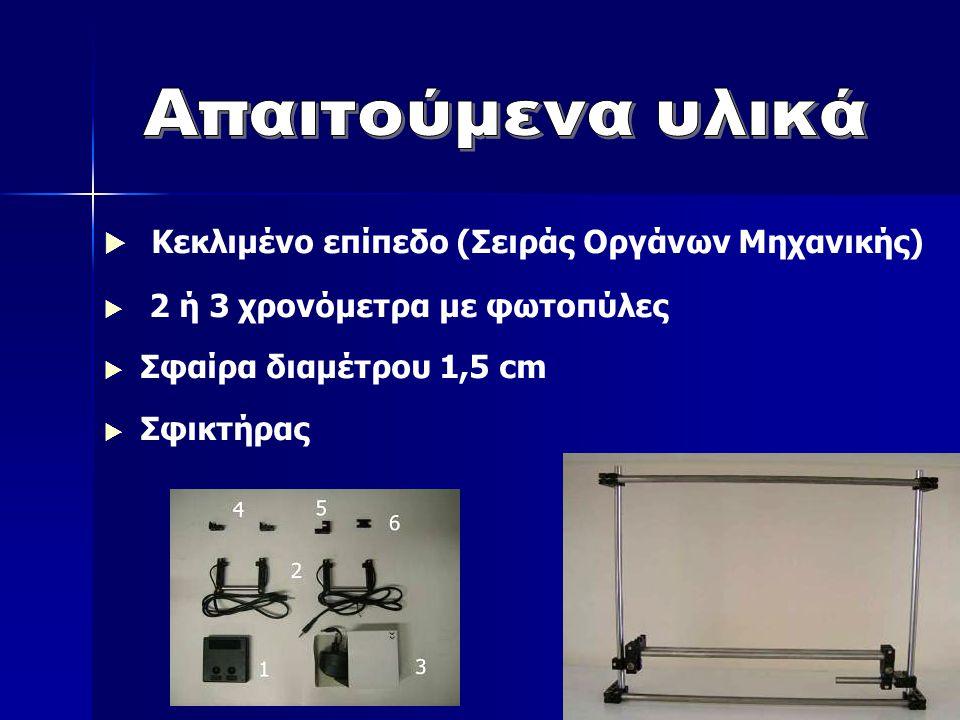  Κεκλιμένο επίπεδο (Σειράς Οργάνων Μηχανικής)  2 ή 3 χρονόμετρα με φωτοπύλες  Σφαίρα διαμέτρου 1,5 cm  Σφικτήρας