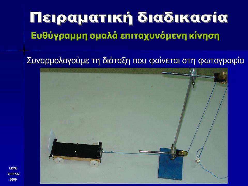 ΕΚΦΕ ΣΕΡΡΩΝ 2009 Συναρμολογούμε τη διάταξη που φαίνεται στη φωτογραφία Ευθύγραμμη ομαλά επιταχυνόμενη κίνηση