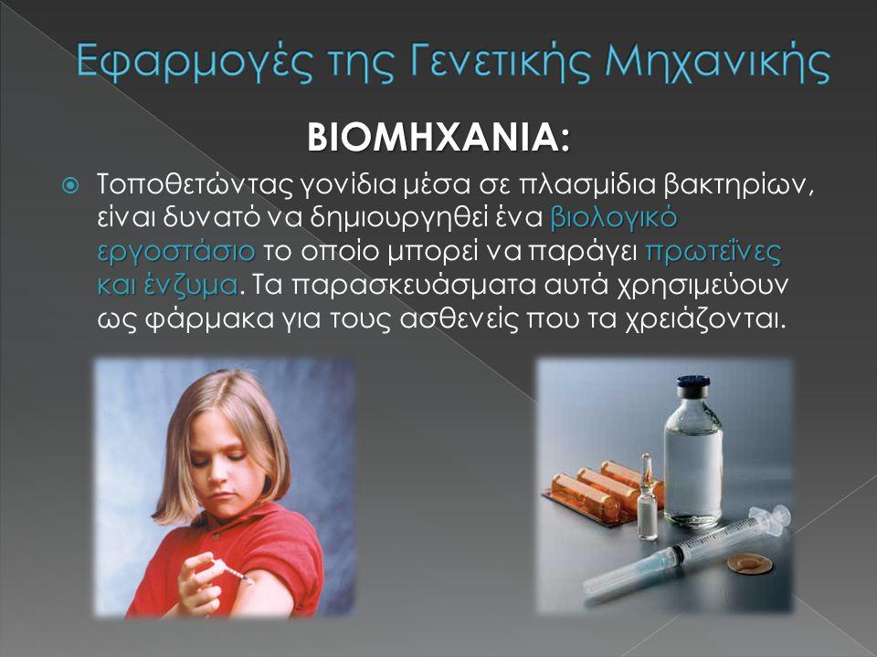 ΒΙΟΜΗΧΑΝΙΑ: βιολογικό εργοστάσιο πρωτεΐνες και ένζυμα  Τοποθετώντας γονίδια μέσα σε πλασμίδια βακτηρίων, είναι δυνατό να δημιουργηθεί ένα βιολογικό εργοστάσιο το οποίο μπορεί να παράγει πρωτεΐνες και ένζυμα.