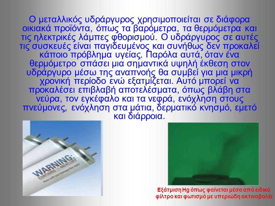 Ο μεταλλικός υδράργυρος χρησιμοποιείται σε διάφορα οικιακά προϊόντα, όπως τα βαρόμετρα, τα θερμόμετρα και τις ηλεκτρικές λάμπες φθορισμού.